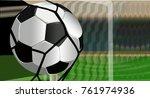 flying football ball in net.... | Shutterstock .eps vector #761974936