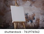 white empty artistic canvas on... | Shutterstock . vector #761976562