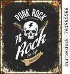 vintage punk rock vector t... | Shutterstock .eps vector #761985586