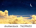 a fantasy cloudscape with stars ... | Shutterstock . vector #76199653