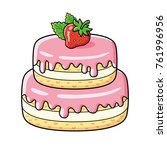 big strawberry cake isolated | Shutterstock .eps vector #761996956