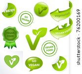 vegan elements set  isolated on ... | Shutterstock .eps vector #76200169