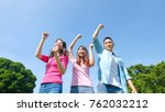 happy young people smile... | Shutterstock . vector #762032212
