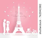 valentines card with eiffel... | Shutterstock .eps vector #762042382