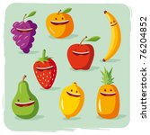 funny fruits | Shutterstock .eps vector #76204852