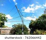Stock photo hills hoist clothes line in australian backyard 762066442