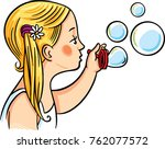 a girl making soap bubbles.... | Shutterstock .eps vector #762077572