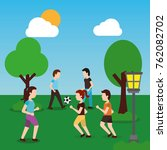 young people in park man girls... | Shutterstock .eps vector #762082702