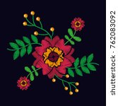 embroidery with flowers textile ... | Shutterstock .eps vector #762083092