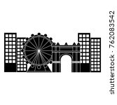 ferris wheel in city icon image  | Shutterstock .eps vector #762083542