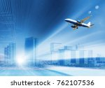 airplane hovering highly in the ... | Shutterstock . vector #762107536