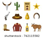 wild west cowboy icons rodeo... | Shutterstock .eps vector #762115582