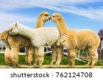 alpaca on green field | Shutterstock . vector #762124708
