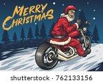santa riding chopper thumbs up...   Shutterstock .eps vector #762133156