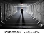 underground tunnel with river... | Shutterstock . vector #762133342