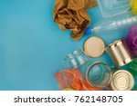 closeup of waste on blue... | Shutterstock . vector #762148705