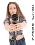 young girl with hair dryer... | Shutterstock . vector #762194566