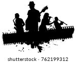 Music Band With Grunge Banner