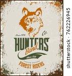 vintage wolf custom motors club ... | Shutterstock .eps vector #762226945