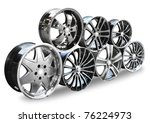 steel alloy car disks over the... | Shutterstock . vector #76224973