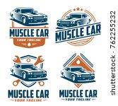 template of muscle car logo ... | Shutterstock .eps vector #762255232