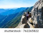 Hiker at Moro Rock. Hiking in Sequoia National Park, California, USA