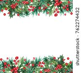 watercolor christmas seamless... | Shutterstock . vector #762274432