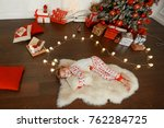 little boy on a christmas day | Shutterstock . vector #762284725