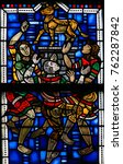 Small photo of WORMS, GERMANY - JULY 4, 2017: Stained Glass in Wormser Dom in Worms, Germany, depicting the Worship of the Golden Calf during Moses' absence as told in the Book of Exodus
