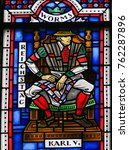 Small photo of WORMS, GERMANY - JULY 4, 2017: Stained Glass in Wormser Dom in Worms, Germany, depicting Emperor Charles V, president of the Diet of Worms in 1521 in which Martin Luther was declared a heretic