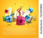 happy new year 2018   flyer... | Shutterstock .eps vector #762304882