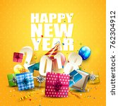 happy new year 2018   flyer... | Shutterstock .eps vector #762304912