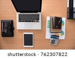 wooden office desk table with... | Shutterstock . vector #762307822