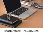 wooden office desk table with... | Shutterstock . vector #762307825