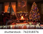 beautiful living room with fire ... | Shutterstock . vector #762318376