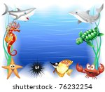 Sea Animals Cartoon Background - stock photo