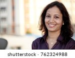smiling business woman at... | Shutterstock . vector #762324988