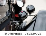 the wing mirror of a black... | Shutterstock . vector #762329728