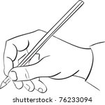 man's hand holds a pencil.... | Shutterstock .eps vector #76233094