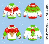 christmas sweater with tree ... | Shutterstock .eps vector #762339586