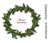 cartoon doodle holly and fir... | Shutterstock .eps vector #762349402