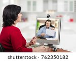 woman looks at e health... | Shutterstock . vector #762350182