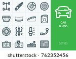 car parts icons kit. collection ... | Shutterstock .eps vector #762352456