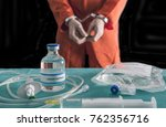 prisoner handcuffed to death by ... | Shutterstock . vector #762356716