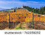 golden vineyards of tuscany....   Shutterstock . vector #762358252