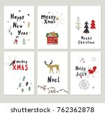merry christmas cartoon funny... | Shutterstock . vector #762362878