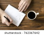 men s hands writing in notepad ... | Shutterstock . vector #762367642
