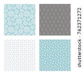 set of vector seamless floral... | Shutterstock .eps vector #762371272