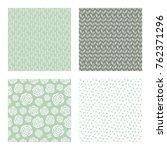 set of vector seamless floral... | Shutterstock .eps vector #762371296