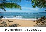 wild deserted beach. phuket... | Shutterstock . vector #762383182